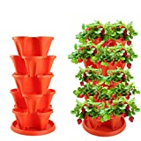 5-Tier Strawberry and Plant Garden Planter - Stackable Gardening Pots with Saucer. Vertical Planter (Orange red, 13inch)