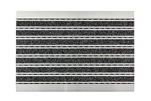 ASTRA Fußmatte– anthrazit – Aluminiumrahmen – sehr robuste Matte – feine oder grobe Struktur – Schmutzfangmatte – Sauberlauf – 60 x 40 x 1 cm