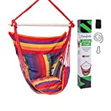 Comforto Hammock Swing Chair | Cushions, Hooks & Tree Strap Included | Perfect for Bedroom, Patio, Porch and Backyard | Outdoor Hanging Chair with Two Inside Pockets for Book and Bottle