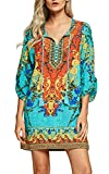 Women Bohemian Neck Tie Vintage Printed Ethnic Style Summer Shift Dress (Medium, Pattern 1)