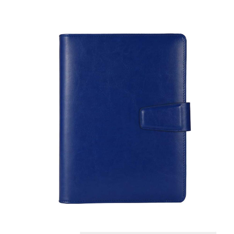 永遠に退却ショートシステム手帳 A5サイズ ビジネス向け リング内径21mm シンプル 手帳ノート バインダー カード/ペン収納 横罫 PUレザー (ダークブルー)