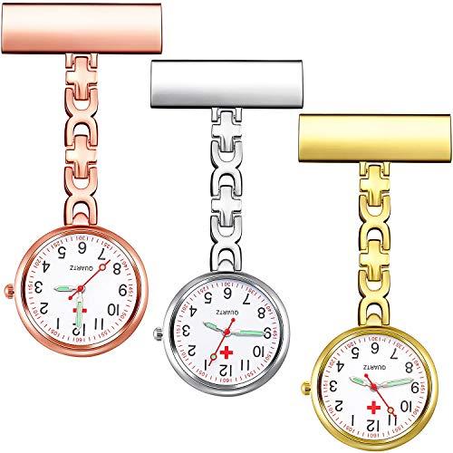 3 Stücke Anstecknadel Krankenschwester Fob Uhr, Arzt Tasche Uhr mit Festem Clip Klammer Stift Brosche Hänged Uhr für Männer Arzt Krankenschwester Sanitäter
