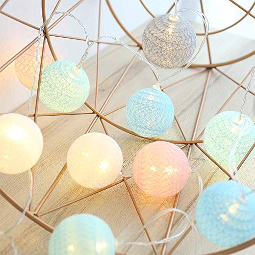 4M 20 LED Baumwollkugeln Lichterkette USB - 8 Modi Lichterkette Ball Baby -Kugel Lichterketten Innen Wandleuchte Weihnachtsbeleuchtung Deko für Hochzeit, Zimmer, Home, Party (Macaron)
