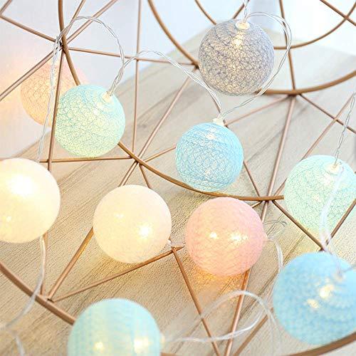 4M 20 LED Baumwollkugeln Lichterkette USB - 8 Modi Lichterkette Cotton Ball Baby -Kugel Lichterketten Innen Wandleuchte Weihnachtsbeleuchtung Deko für Hochzeit, Zimmer, Home, Party (Macaron)