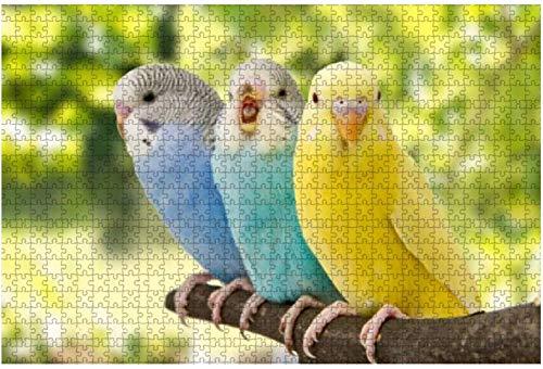 Wellensittiche Australische Sittiche Gelbes Papageienstück Puzzle für Erwachsene Lernspielzeug für Kinder Kreative Holzpuzzles Home Decor, 500 Stück 52 * 38 cm