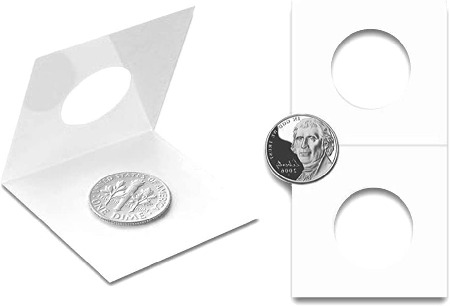 29mm//1.1inch Coin Holders Protection Coin Envelopes for 2x2 inch Collection Pocket CS07290 Cardboard Coin Flips 50PCS
