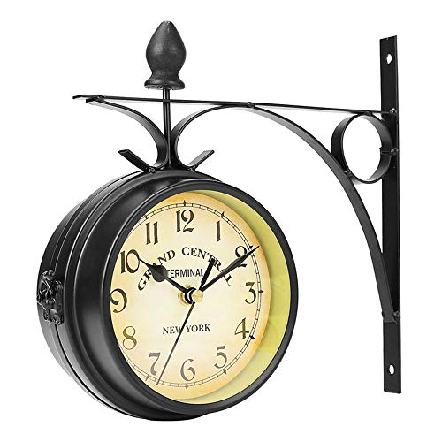 Qylfsxb Reloj de Pared Reloj De Pared Al Aire Libre Colgante Retro De Doble Cara Alimentado por Batería Montaje De Metal Vintage Jardín Decoración De Barra De Café Estación Redonda
