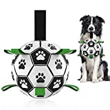 Dog Toys Soccer Ball with Grab Tabs, Interactive Dog Toys for Tug of War, Puppy Birthday Gifts, Dog...