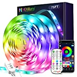 75 ft LED Lights for Bedroom, Nexillumi LED Strip Lights with Remote and Music Sync SMD5050 RGB LED Light Strip for Christmas, Room Decoration (75Ft APP+Remote+Mic+3-Button Switch)