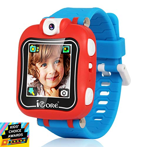 Kids Smart Watch, Rotatable Camera Smart Watch for Kids, Built-in Games Watches, Best Smartwatch Christmas Birthday Gifts for Boys Girls Ages 4-12 (Red/Blue)