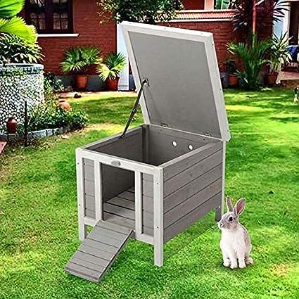 BUNNY BUSINESS Refugio para escondite de Conejo/Conejo/Conejo/Gato de Madera, 50 x 42 x 43 cm