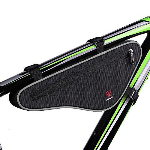 Fozela Fahrradtasche, Fahrrad Dreiecktasche Triangeltasche Reflektierend Fahrradrahmentasche(Black Gray)