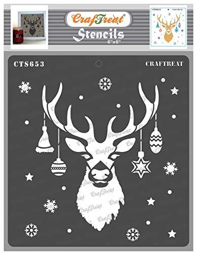 CrafTreat Rentier Schablonen zum Bemalen auf Holz Weihnachten - Rentier-Schablone - 15,2 x 15,2 cm - Rentierkopf Schablone für Kekse Weihnachten - Rentiergesichtsschablone für Weihnachten