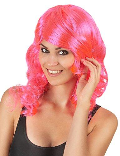 Generique - Perruque mi-Longue glamourondulée Rose Femme