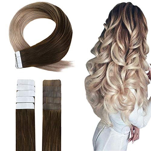 Easyouth Tape Extensions Echthaar Ombre 40g 16 Zoll Farbe #4 Mittelbraun Fading To #18 Aschblond Double Sided Tape For Hair Extensions Glue In Hair