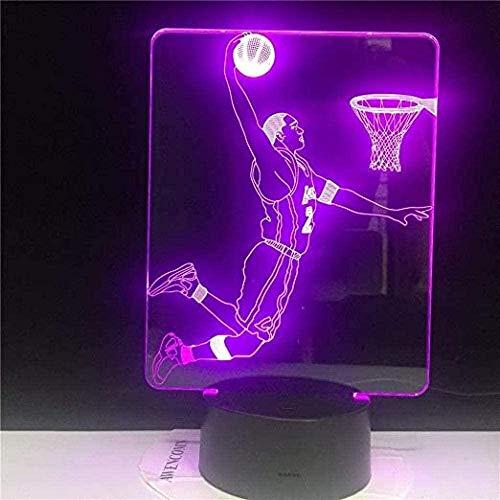 FYJ Anime 3D Illusion Night Light LED Lámpara de Juego de Baloncesto con 16 Colores de luz para la decoración del hogar Lámpara triturada Increíble ilusión de Pantalla