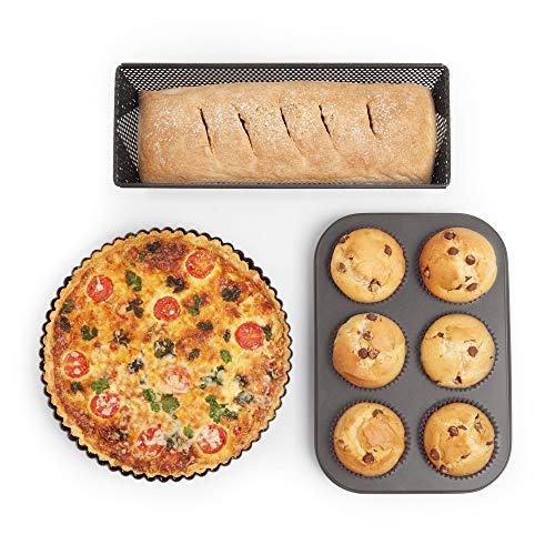 VonShef Muffin Tray, Flan/Quiche Tin & Loaf Tin – Non-Stick and Vented for Crispy Baking – 3pc Bakeware Set – Oven, Dishwasher, Fridge & Freezer Safe