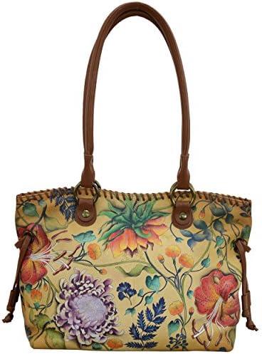 Anuschka Women s Genuine Leather Drawstring Shopper Bag Hand Painted Exterior Caribbean Garden product image
