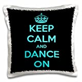 3dRose Keep Calm and Dance on, Black and Turquoise-Pillow Case, 16 by 16' (pc_163926_1)
