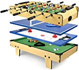 Leomark 4 in 1Table de babyfoot Jeu de Football,Bilard, Tenis, Hockey Baby-Foot, Baby Foot Table en Bois Jeu de Football