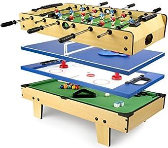 Leomark Mesa Multifuncional Multijuegos Futbolin Mesa de Juego 4 en 1 (futbolín, Billar, Tenis, Hockey) Buena Diversión para Niños Deporte Madera, Dimensiones: 82 x 43,5 x 20(A) cm