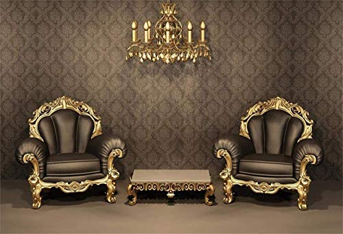 New 7x5ft Luxurious Room Interior Backdrop Baroque Armchairs with Gold Frame Royal Chandelier Photography Background Ancient House Church Decoration Artistic Portrait Photo Studio Props Wallpaper