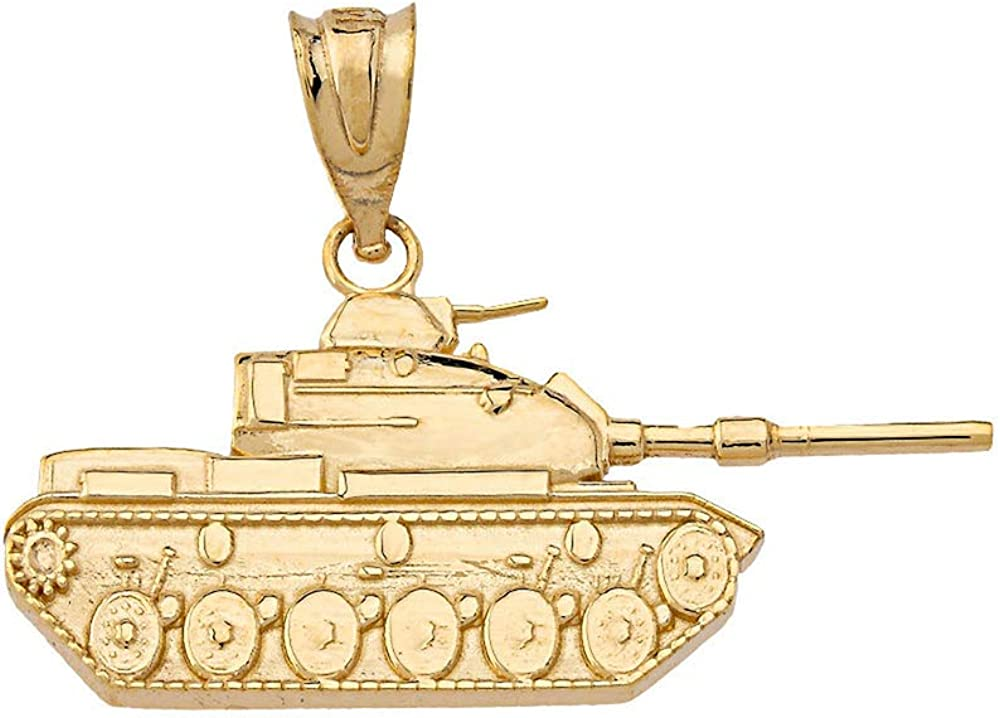 14 kt gold pendant,military charm tank jewelry,Any occasion gift,Wedding gift,holiday gift,memorable gift,Gold Charm,Can Engrave Text.