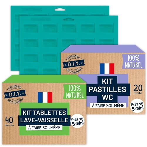 L'Atelier du Do It Yourself – 2 kits DIY (40 pastillas para lavavajillas y 20 pastillas de WC) – Fabricado en Francia – Listo en 5 minutos.
