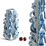 EveCandles - 3 Wicks Havdalah - Candle Handmade Designer Artistic Carved - Home Interior Decoration