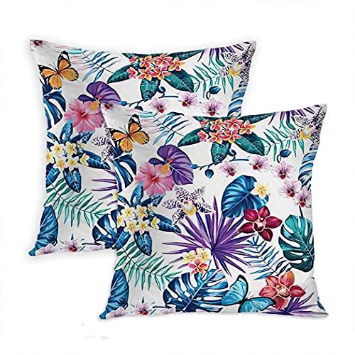 LINGF Funda de Almohada Mariposa Juego de 2 Fundas de Almohada Hojas de Palmera Coloridas Flores Tropicales Mariposas Cojín Dibujado a Mano Funda de Almohada 20x20 Pulgadas