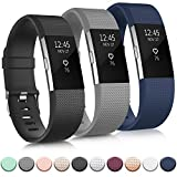 IEOVIEE Silicone Band Compatible with Fitbit Charge 2 Bands, Classic & Special Edition Soft Replacement Bands for Women Men Small Large (Small, 01 Black+Grey+Navy Blue)
