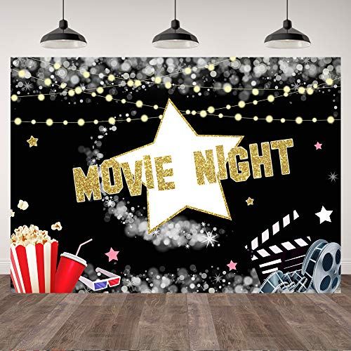 7×5ft Movie Night Birthday Party Backdrop Movie Film Popcorn Star Adults Photography Background Bokeh Rustic Lights Movie Star Theme Party Banner Decorations Adults Birthday Photo Booth Props
