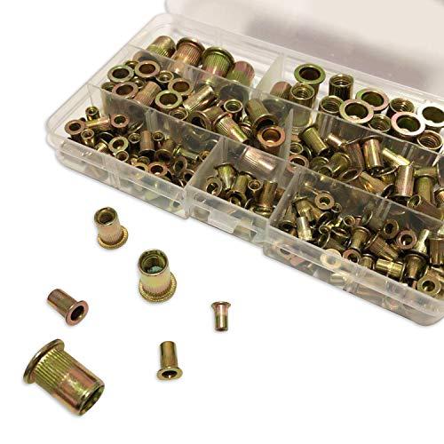 200Pcs Rivet Nut Insert Nutsert Rivet Nut Assortment Kits 304 Stainless Steel- M3 M4 M5 M6 M8 M10, Flat Head Threaded Yellow Zinc Plated Finish by Yuerseak