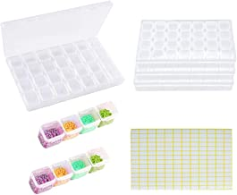 Diamond Embroidery Box 4 Pack 28 Grids,5D Diamond Painting Accessories Storage Containers with 168pcs Craft Label Marker S...