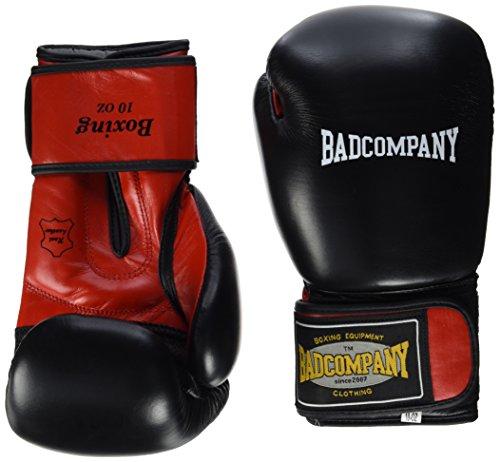 Bad Company Pro Leder Boxhandschuhe Klassik schwarz/rot - Klassische Boxhandschuhe mit Belüftungssystem (Airy-System), 10 Unzen (OZ)