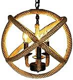 Lámpara colgante vintage de 3 focos, lámpara de techo industrial con cadenas de hierro ajustables de 50 cm, diámetro de 35 cm, pantalla de cuerda de cáñamo, casquillo: E14 (sin bombilla)