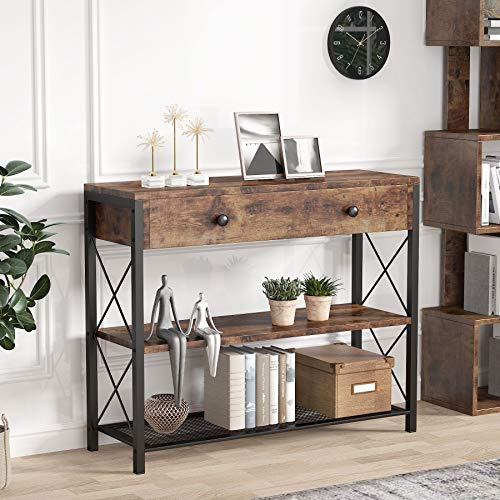 Tribesigns Mesa de Consola, Mesa de Entrada Consola con Cajones & Estantes, Vintage Mueble Mesa Recibidor, para Pasillo,...