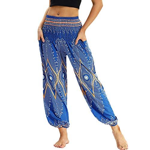 Nuofengkudu Damen Hippie Haremshose Capri Thai Hose Leichte mit Taschen Dünn Boho Ethno Blumenmuster Muster Strand Sommerhose Yogahose Blau Muster