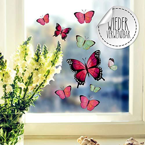 Fensterbilder Fensterbild Schmetterlinge rosa pink grün wiederverwendbar Frühling Frühlingsdeko Fensterdeko bf53 - ausgewählte Farbe: *bunt* ausgewählte Größe: *4. Schmetterlinge rosa pink grün*