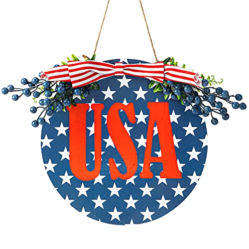 Patriotic Welcome Wreath Sign, 4th of July Flag Front Door Hanger for Independence Day Decorations on Walls, Porch, Windows and Courtyards