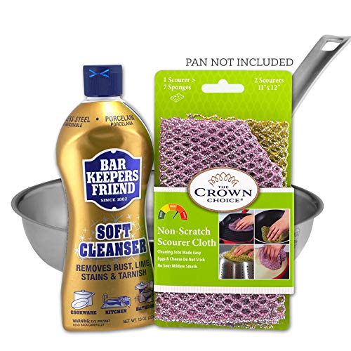 BAR Keepers Friend Soft Cleanser Liquid (13 OZ) and Non Scratch Scouring Kit - Pot Cleaner and Scrubbing Set - Multipurpose, Stainless Steel, Rust, Soft Cleaner with Heavy Duty Non Scratch Dishcloth