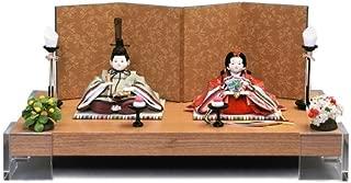 雛人形 幸一光 ひな人形 コンパクト 平飾り 親王飾り 山櫻桃 (ゆすら) 目入頭 屏風E 正絹 衣裳着 アクリル足付飾台 h313-koi-116e