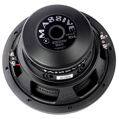 Massive Audio MMA104 MMA Series. 10 Inch, 1000 Watt, Dual 4 Ohm Car Subwoofer, 2.5 Inch Voice Coil. Sold Individually.