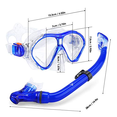 SKL Kids Snorkel Set, Foldable Dry Snorkel Tube Kids Snorkeling Set,Tempered Glass Swimming Diving Scuba Goggles 180°Panoramic View,Anti-Fog Snorkeling Gear Free Breathing for Boys&Girls