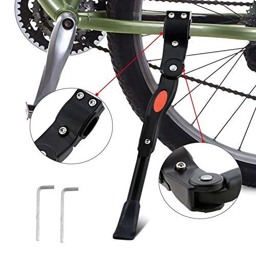 WisFox Cykelställ, cykel sidoställ vikbart justerbart universellt cykelställ cykelställ med halkskydd gummifot aluminiumlegering för 24–28 tums mountainbike, vägcykel