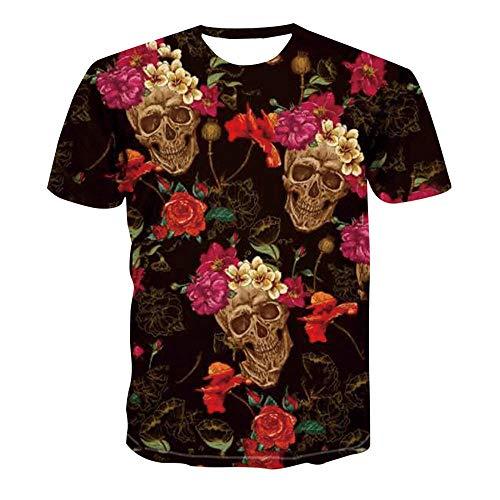 LXZ 3D Patrón Impreso Camisetas,Unisex 3D Estampado Floral Calavera Camiseta Suelta Hombre Cuello Redondo Manga Corta Fitness Ocio Exterior Verano Top-2Xl