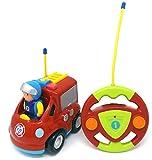 Brigamo Feuerwehr Ferngesteuertes Auto Feuerwehrauto mit Sirene und Herausnehmbare Feuerwehrmann Figur