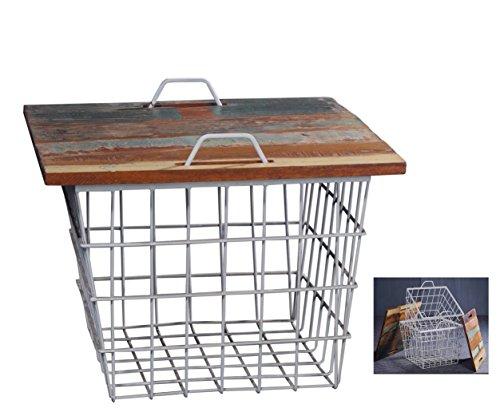 Juego de 2Retro Vintage Mesa Auxiliar–Mesa de café Coffee Table Mesa cóctel mesa mesa de sofá mesa madera metal weißmit metal cesta de estante Espacio