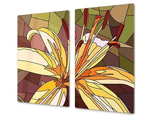 Cubre vitros de Cristal Templado - Tabla para Cortar de Cristal – Tabla para amasar y Protector de vitro – UNA Pieza (60 x 52 cm) o Dos Piezas (30 x 52 cm); D06 Serie Flores