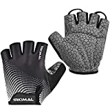 TRKIMAL Bike Gloves Mountain Bicycle Gloves Cycling Gloves with SBR Pad Anti-Slip Shock-Absorbing, Breathable Light Weight Nice Fit Half Finger Sports Gloves for Men Women (Black, Medium)